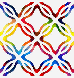 White wavy rectangles and white net on rainbow vector image vector image