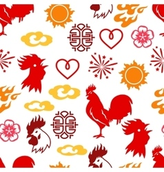 Seamless pattern with symbols of 2017 by Chinese vector image