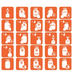 Set of camping stove and gas bottle icon vector image