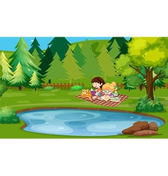 Two girls reading book by the pond vector