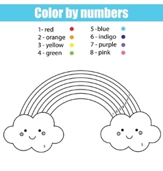 Coloring page with cute kawaii rainbow color by vector
