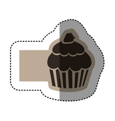 Sticker monochrome emblem of cupcake with vector