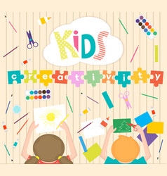 kids art-working process background kids vector image