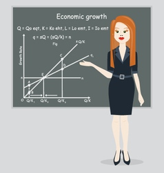 Business woman presentation economic growth vector