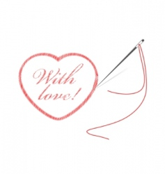 embroidery with heart vector image