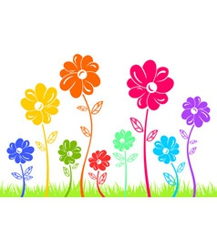Colour flowers on green grass isolated vector