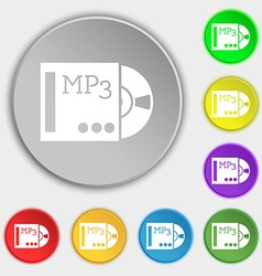 Mp3 player icon sign symbols on eight flat buttons vector