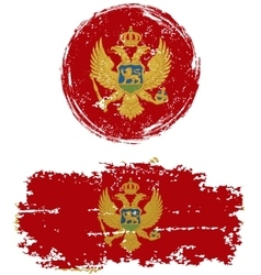 Montenegrin round and square grunge flags vector