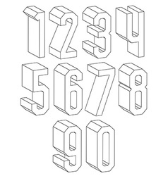 3d black and white geometric numbers made with vector