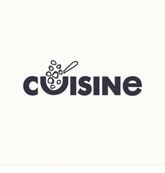 Logo text cuisine with signs of food and spoon vector