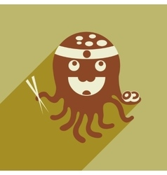 flat icon with long shadow octopus sushi vector image