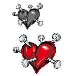 Damaged heart with nails vector
