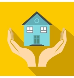 House in hands icon flat style vector