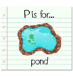 Flashcard letter p is for pond vector