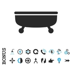 Bathtub flat icon with bonus vector