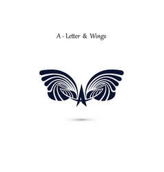 A letter sign and angel wings monogram wing logo vector