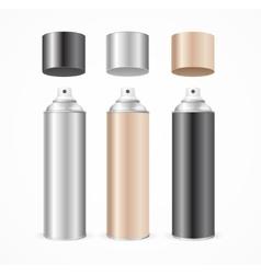 Aluminium spray can template blank color set vector