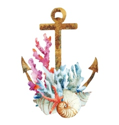 Anchor with corals vector