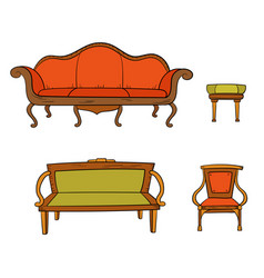 antique furniture set - chair couch sofa chair vector image vector image