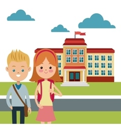 Back to school study building boy and girl vector