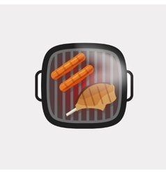 Barbecue grill icon bbq grilled meat steak vector