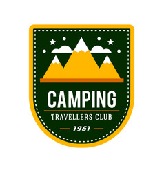 camping flat set with hiking equipment logo vector image vector image