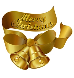 Christmas bell and Ribbon GOLD vector image