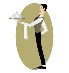 Elegant slim waiter with a serving dish vector