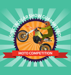 extreme motocross ride banner in flat design vector image