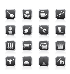 Garden and gardening tools vector image vector image