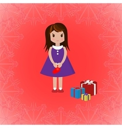 Girl with sock and gift boxes vector image