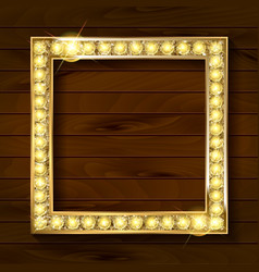 gold frame on wooden background vector image vector image