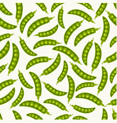 Green pea pods seamless pattern vector