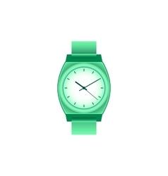 Green wrist watch on white field vector