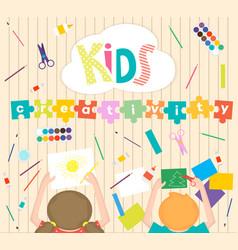 Kids art-working process background kids vector