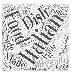 Lombardy the other side of italian food word cloud vector