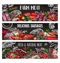 meat and sausage banner template on chalkboard vector image vector image