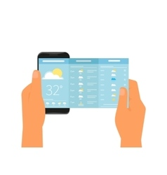 Mobile app for weather forecast vector image vector image