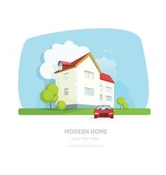 Modern home facade contemporary house traditional vector