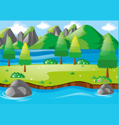 Nature scene with river and mountains vector
