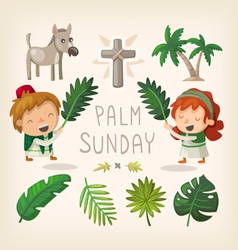 Palm Sunday design elements vector image vector image