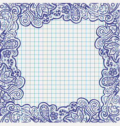 Pen floral frame on school notebook paper vector