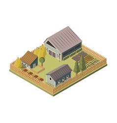 Ranch isometric layout vector