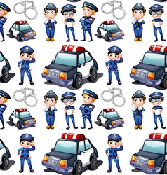 Seamless design with policemen and patrol cars vector image vector image