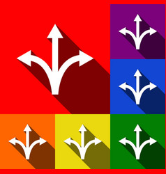 three-way direction arrow sign set of vector image