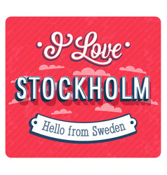 vintage greeting card from stockholm vector image vector image