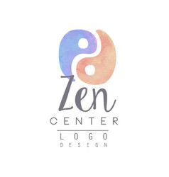 Watercolor logo template with yin and yang zen vector