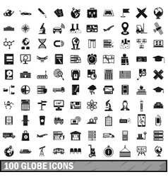 100 globe icons set simple style vector