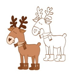 Moose for a coloring book vector