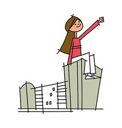 A girl on the building vector